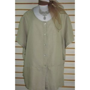 Linen blend buttoned top khaki flattering EUC